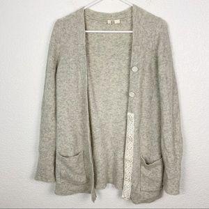 Moth Gray Alpaca Wool Blend Cardigan Medium